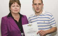 Carpentry apprentice Jack Bennett is presented with the Skillbuild Regional award