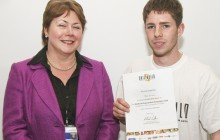 Multi-award winning apprentice Sean Crossan is shown here accepting his Skillbuild Regional award